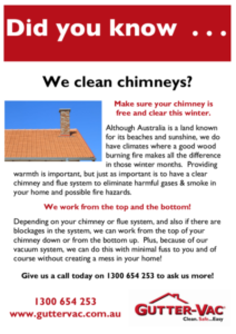 Get your flue/chimney cleaned when you get your gutters cleaned in the Central West NSW