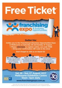 Gutter-Vac will be at the Melbourne Franchising & Business Opportunities Expo