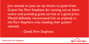 Port Stephens gutter cleaning customer review