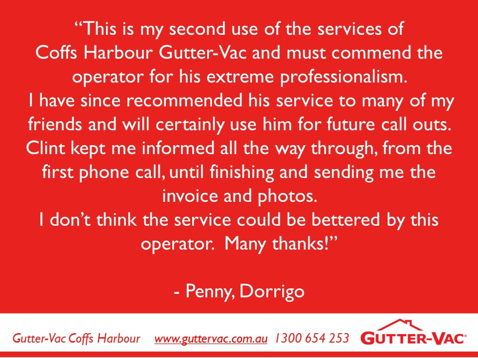 What a Fantastic Review From This Satisfied Dorrigo Gutter Cleaning Customer
