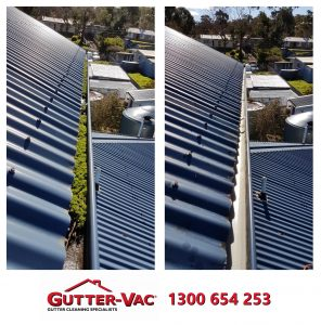 Gutter cleaning Before and After Photo