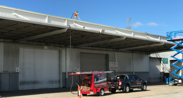 Cleaning gutters on multi-storey buildings.  How we do it …