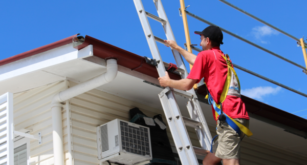 Ladder safety when cleaning gutters.